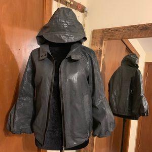MARNI black/grey metallic jacket. Hood. Puffed.